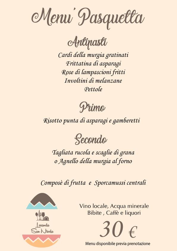 menu pasquetta